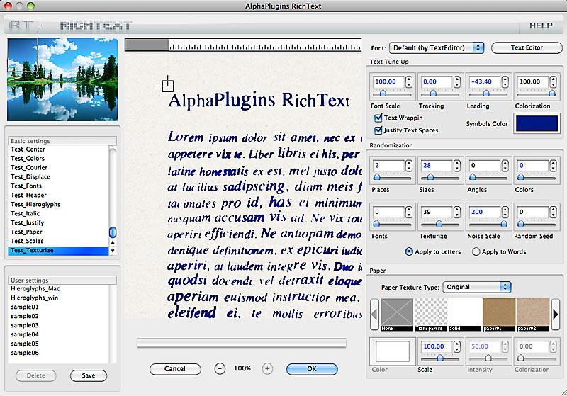 AlphaPlugins RichText for Mac Screen shot