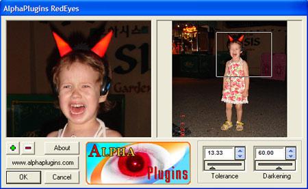 AlphaPlugins RedEyes dialog window